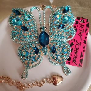 NWT Betsey Johnson Butterfly Necklace/ Brooch